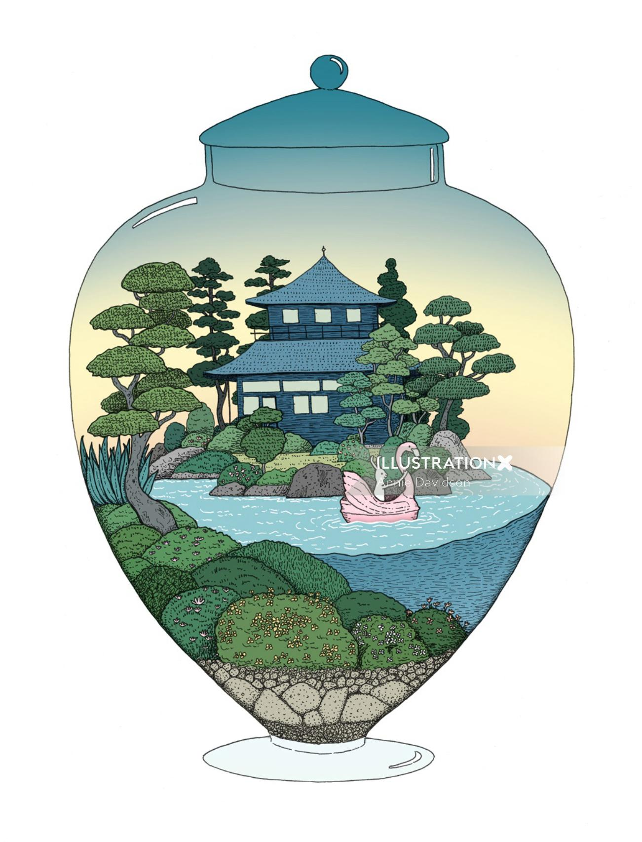 Kyoto Tea House digital art