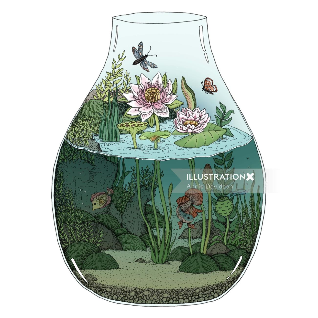 Graphical design of Waterlilies terrarium