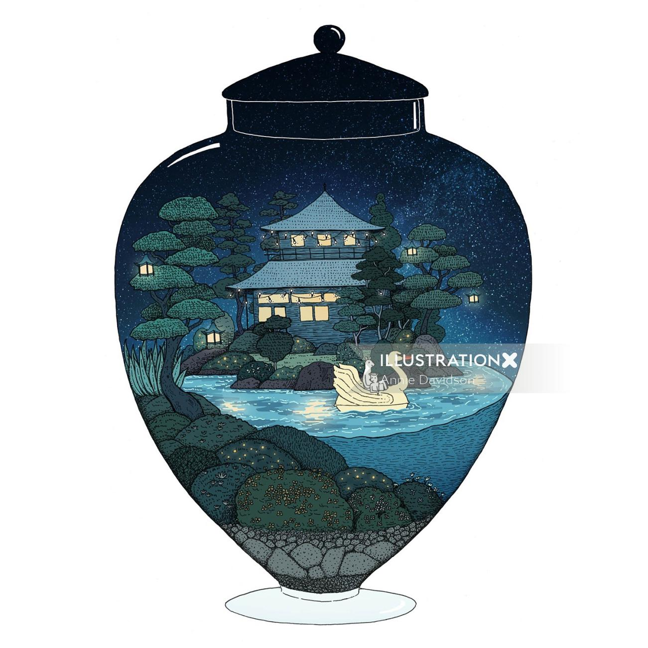 Swan lake in glass pot desing by Annie Davidson
