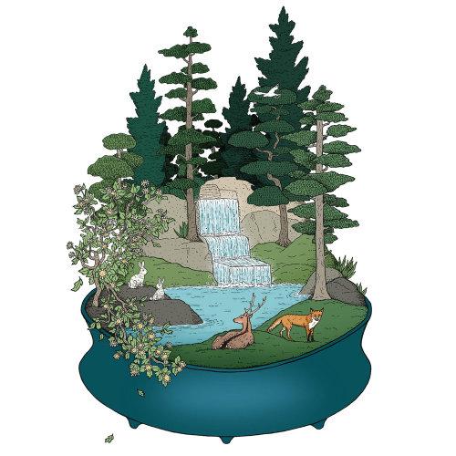 Whimsical art of forest edge