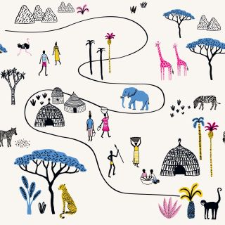 Coloured line drawing of Serengeti animals, people