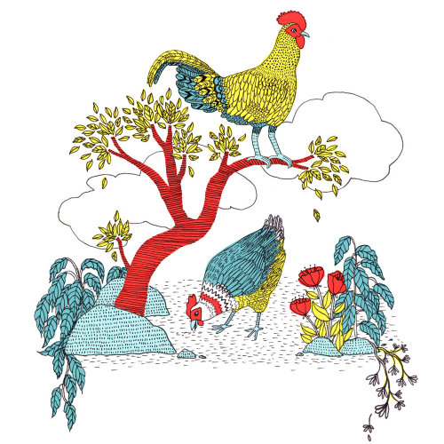 Animals illustration of rooster on tree