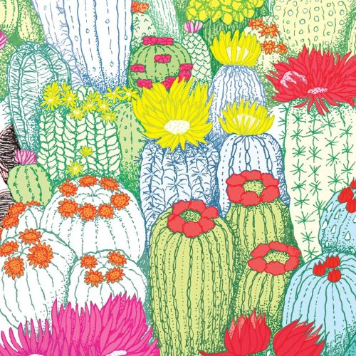 Decorative cactus with flowers