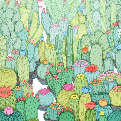 Cactus garden watercolour painting