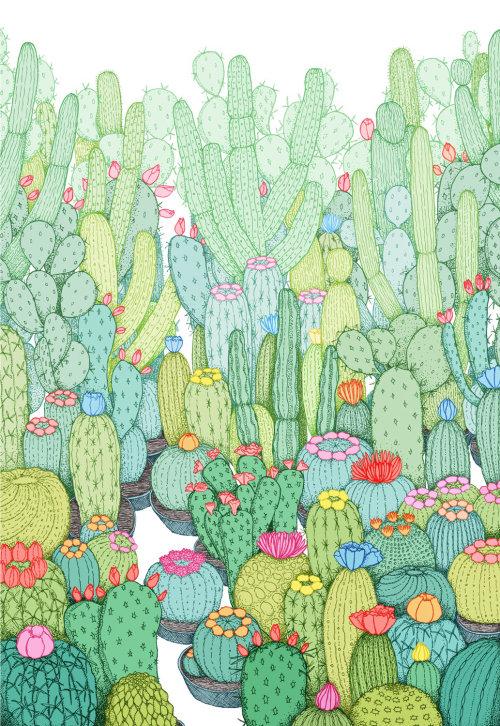 Cactus garden watercolour painting