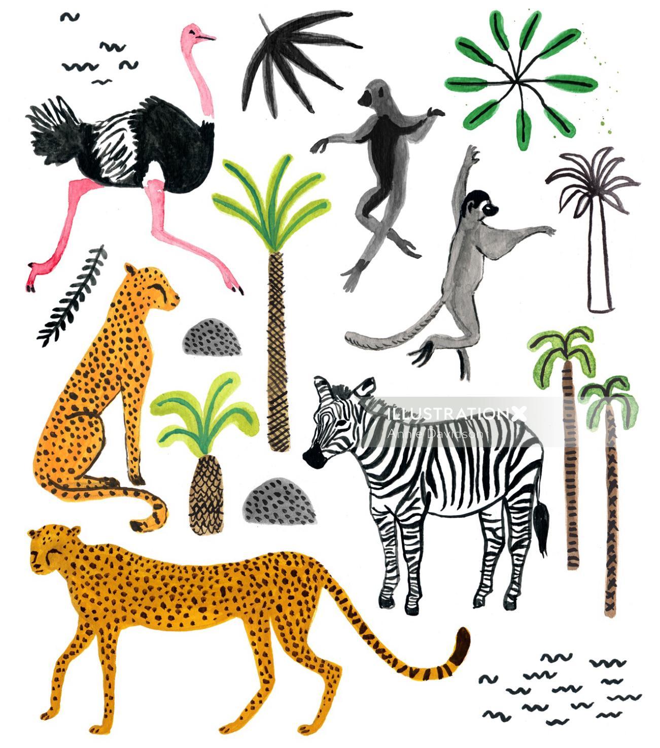 Animals watercolor art