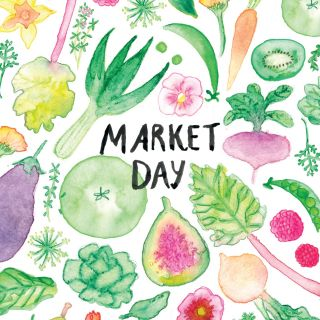 ink, watercolour, vegetable, fruit, flowers, pattern
