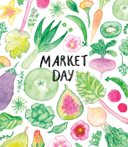 Watercolor painting of market day by Annie Davidson