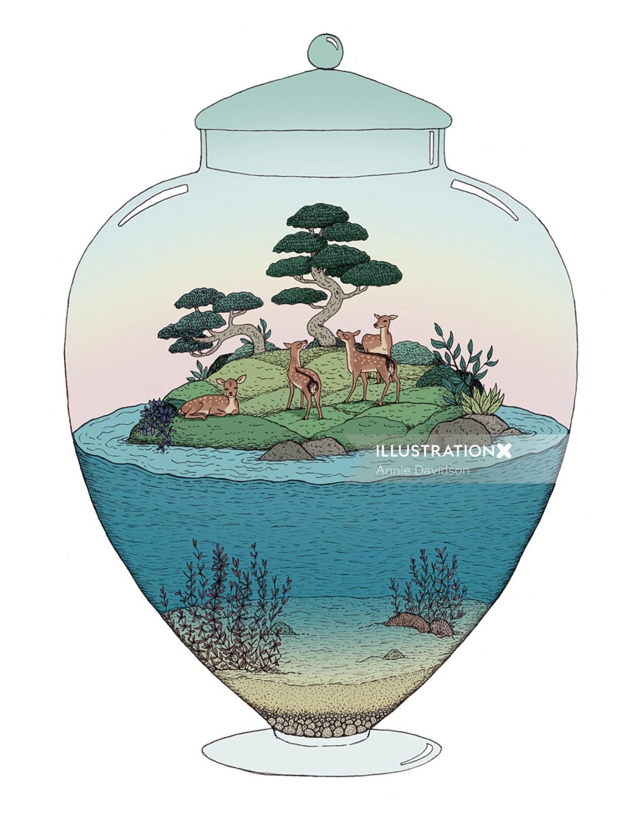 Graphical design of Bambi Island