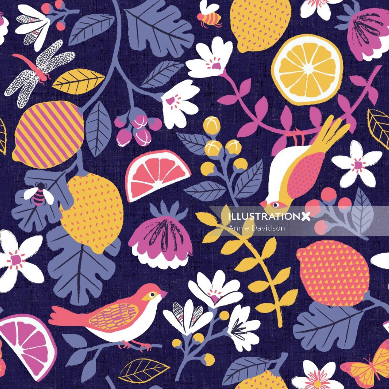 Graphical design of 'In Full Bloom' Repeat Pattern