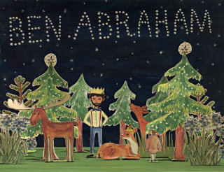 ben abraham, forest, christmas, deer, moose, paper diorama, night sky