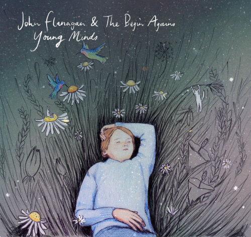 boy, field, birds, daisies, hummingbirds