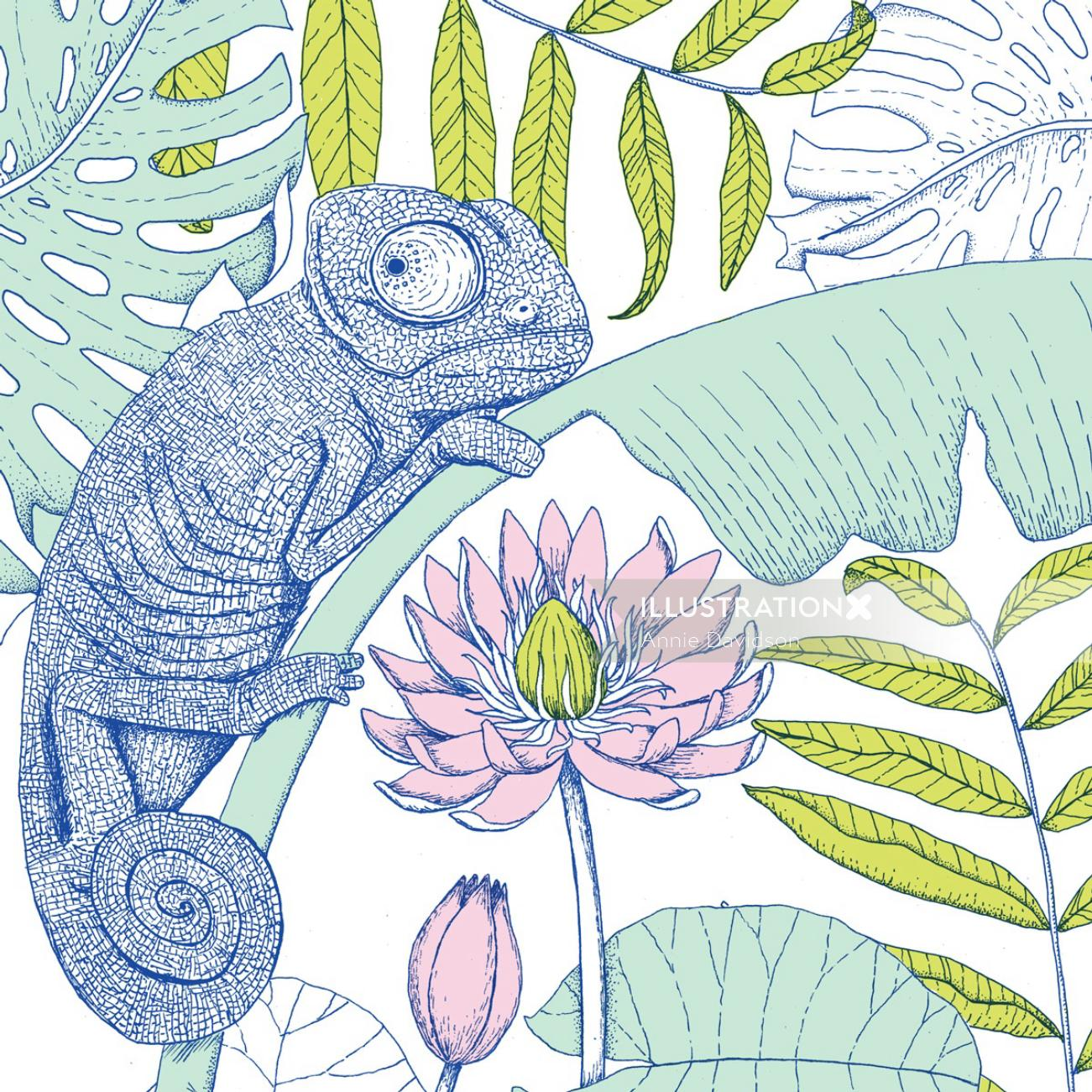 Watercolor painting of chameleon