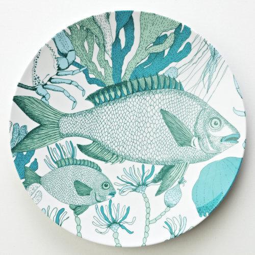 Graphic fish, under the sea, crab, coral, seaweed, sea grape, jellyfish