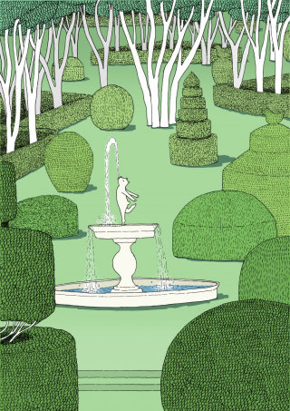 topiary garden, paris, fountain, whymsical
