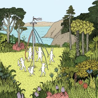 Animals playing around maypole illustration