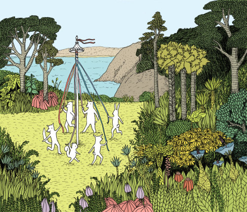 Animals playing around maypole illustration
