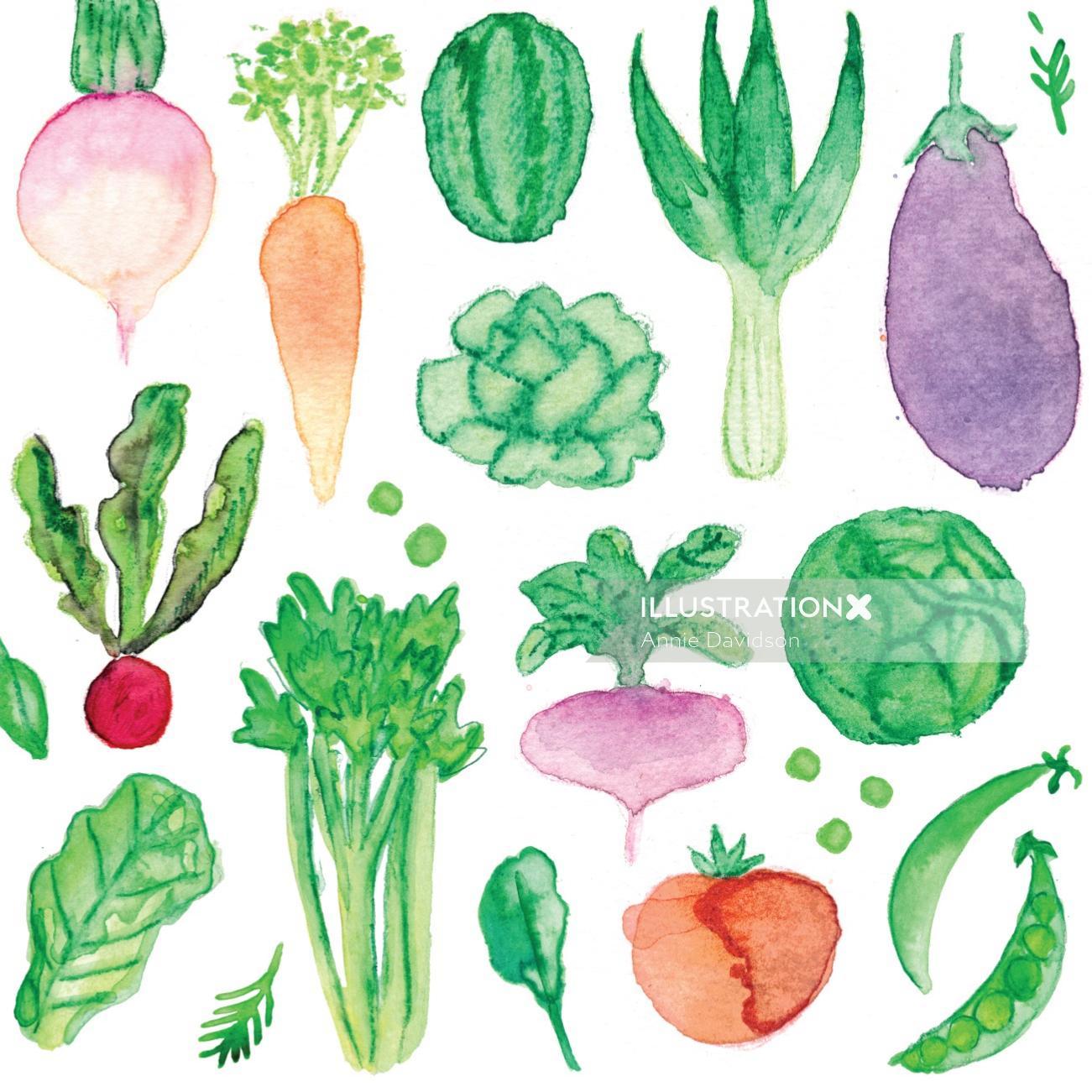 Veggie watercolour painting