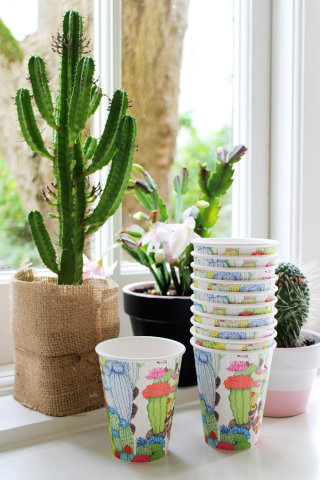 cacti, garden, coffee cup, packaging
