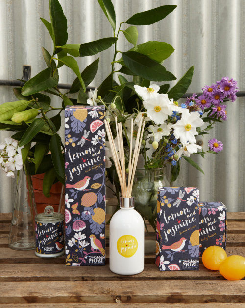 Graphic florals, birds, fruit, pattern, full bloom, packaging