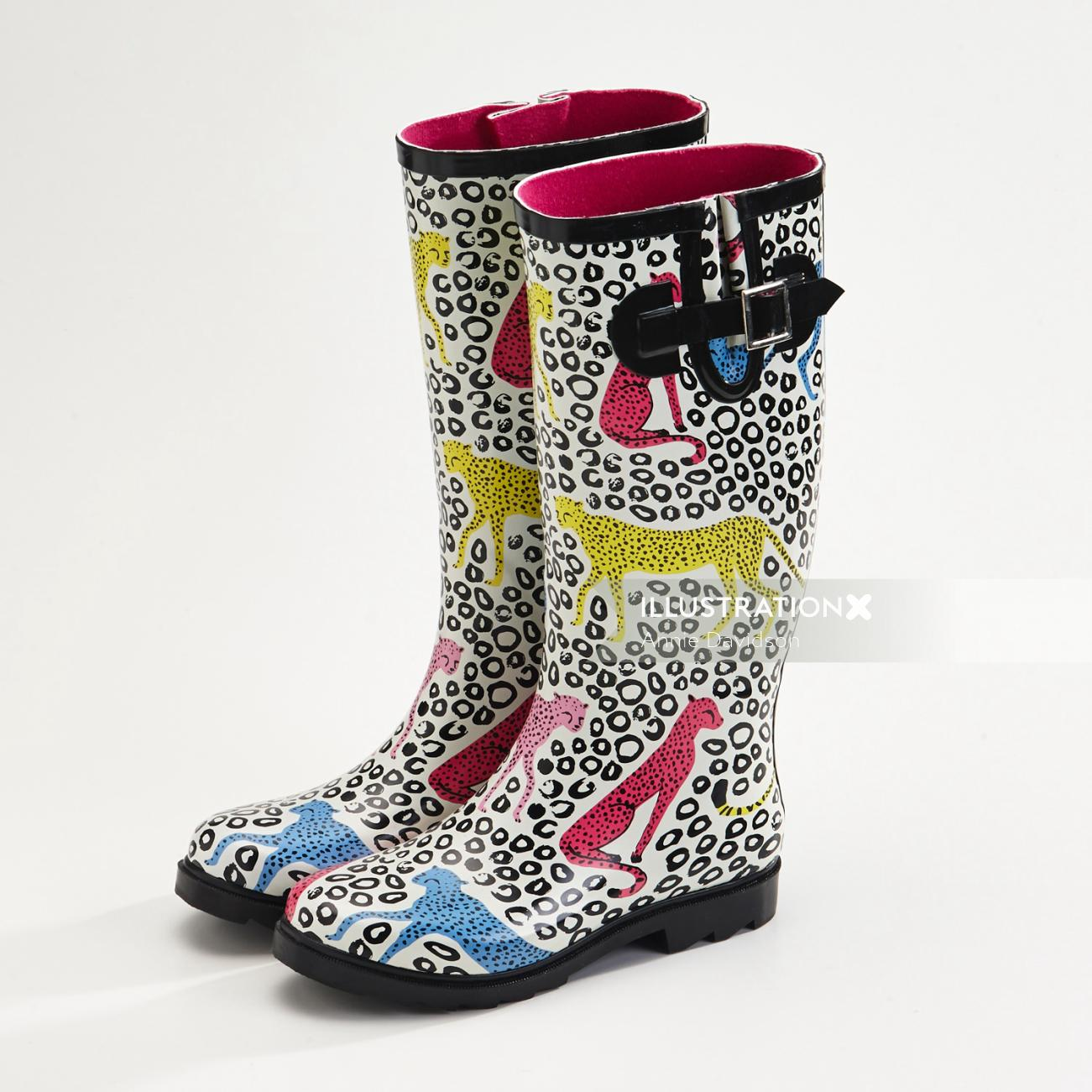 Watercolor design of Africa Gumboots