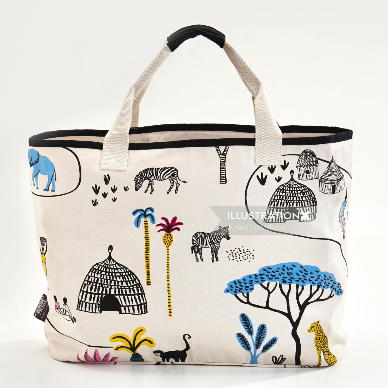 Africa tote bag illustration