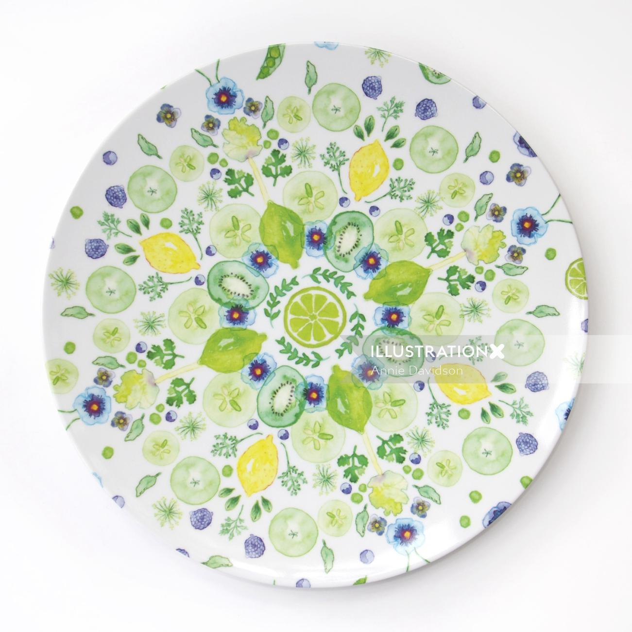 Watercolor painting of Melamine Plate for Mozi