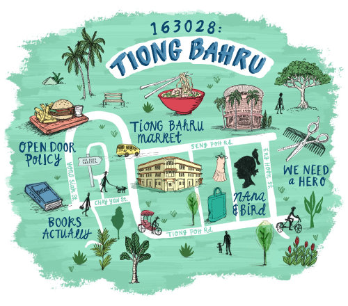 Illustration de la carte des emplacements de Tiong Bahru