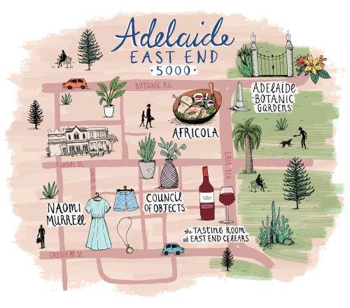 Adelaide East End Map Illustration