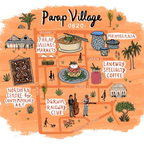 Jetstar Map illustration of Parap Village, Darwin