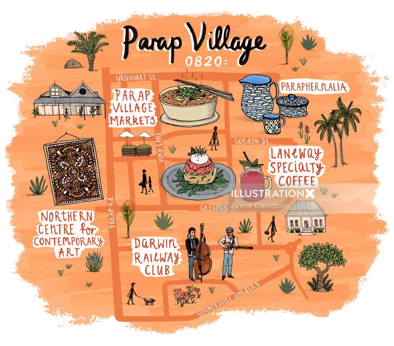 Jetstar Map illustration of Parap Village, Darwin