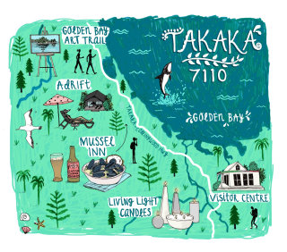 Map illustration of Takaka city