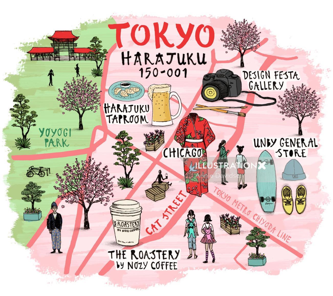 Graphic Design of Tokyo Harajuku Map