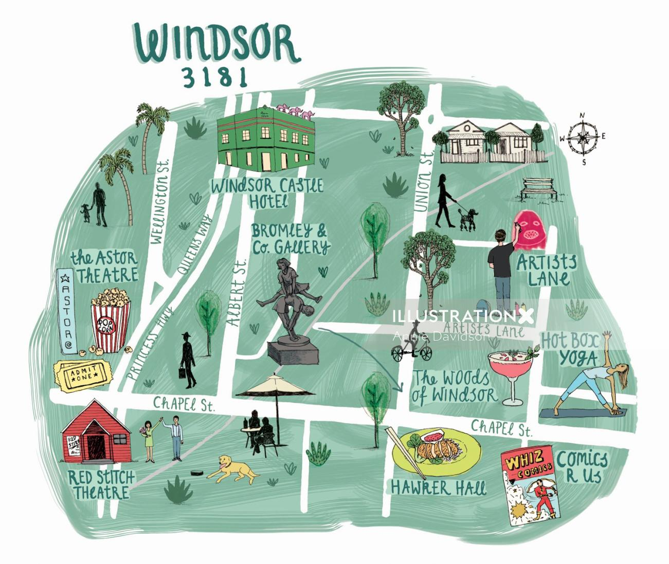 Windsor city in Melbourne map design by Annie Davidson