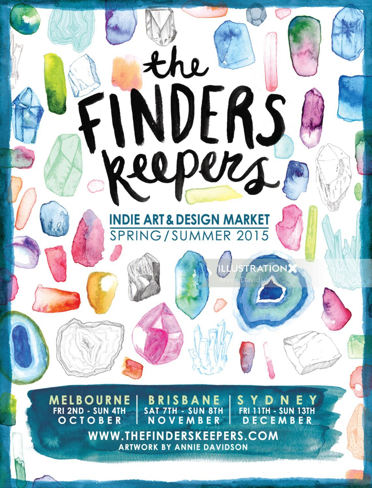 Finders Keepers market Advertising poster design