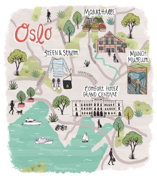Map design of Oslo city in Norway