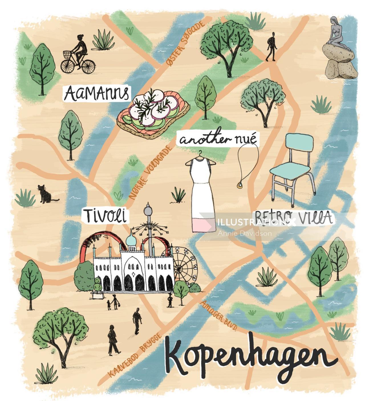 Kopenhagen map illustration