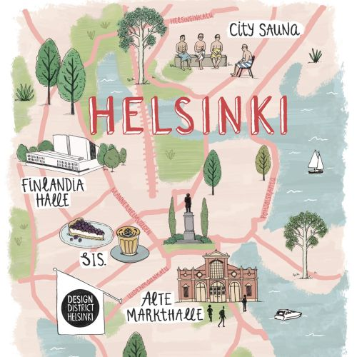 Helsinki city in Finland map design