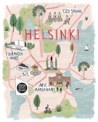 Helsinki city in Finland map design