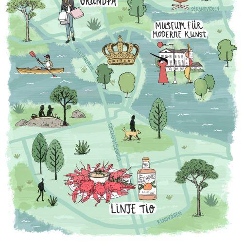 Map illustration of Stockholm