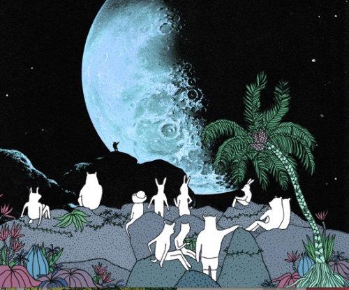 Animaiton of man flying to moon