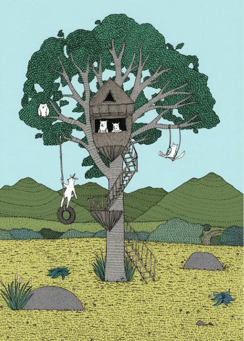 Animation of animals swinging on tree
