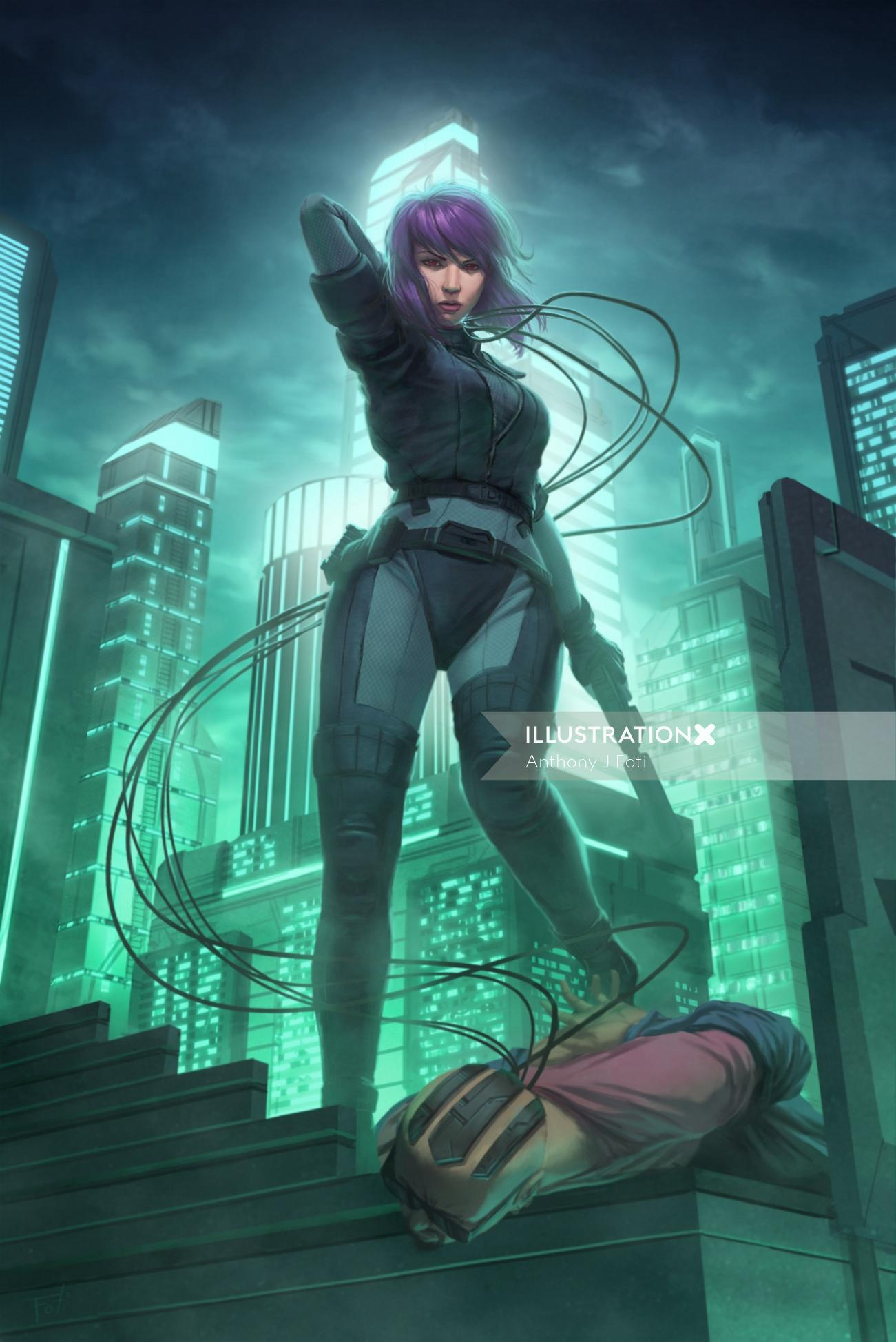 Major Kusanagi Character art by Anthony J Foti