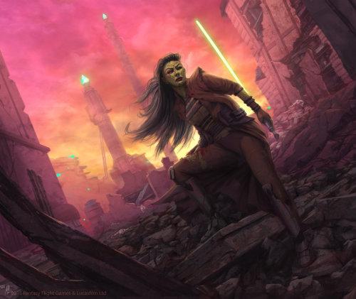 Fantasy illustration of Mirialan character
