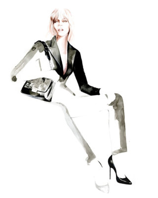 Black & white drawing of a fashion lady