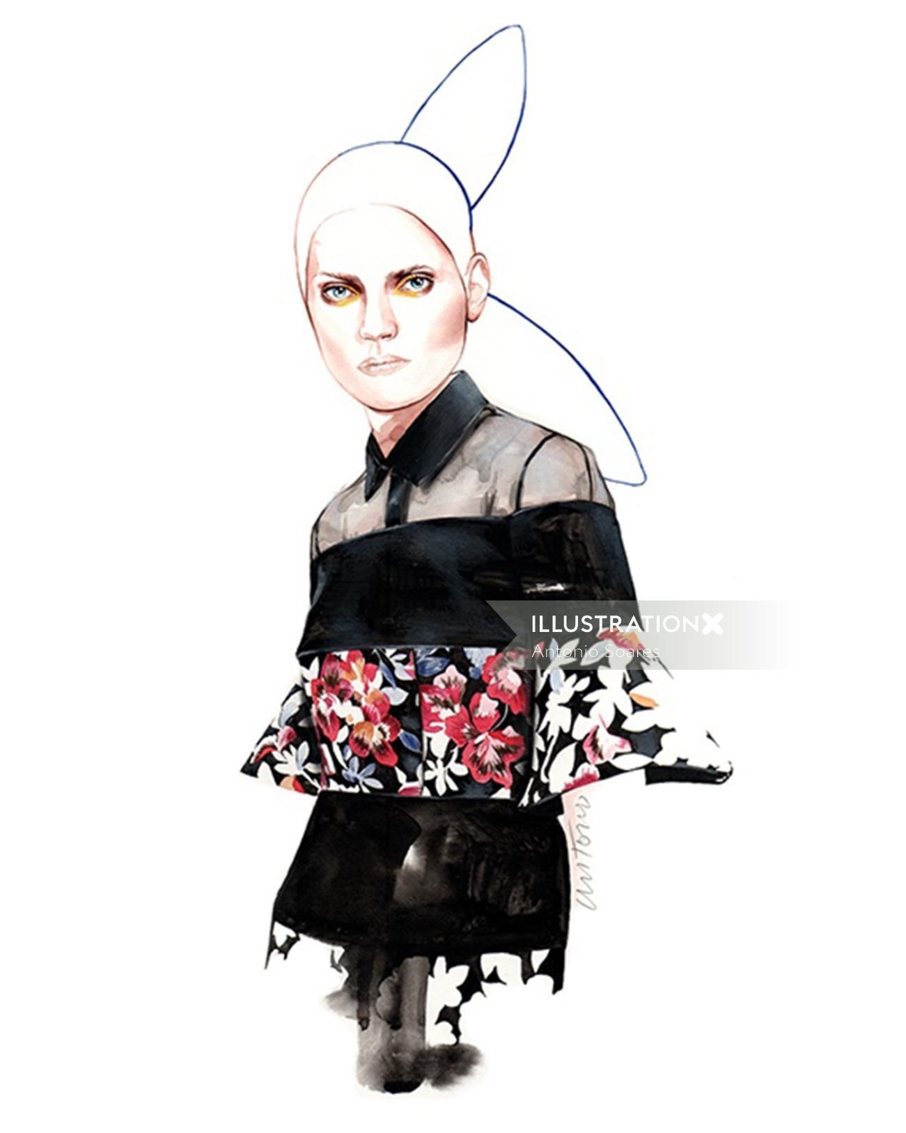 DelPozo fashion illustration by Antonio Soares