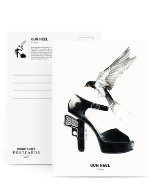 Black & white sketch of gun heel shoes