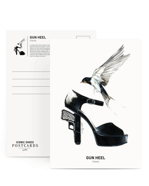 Black & white sketch of gun heel shoes