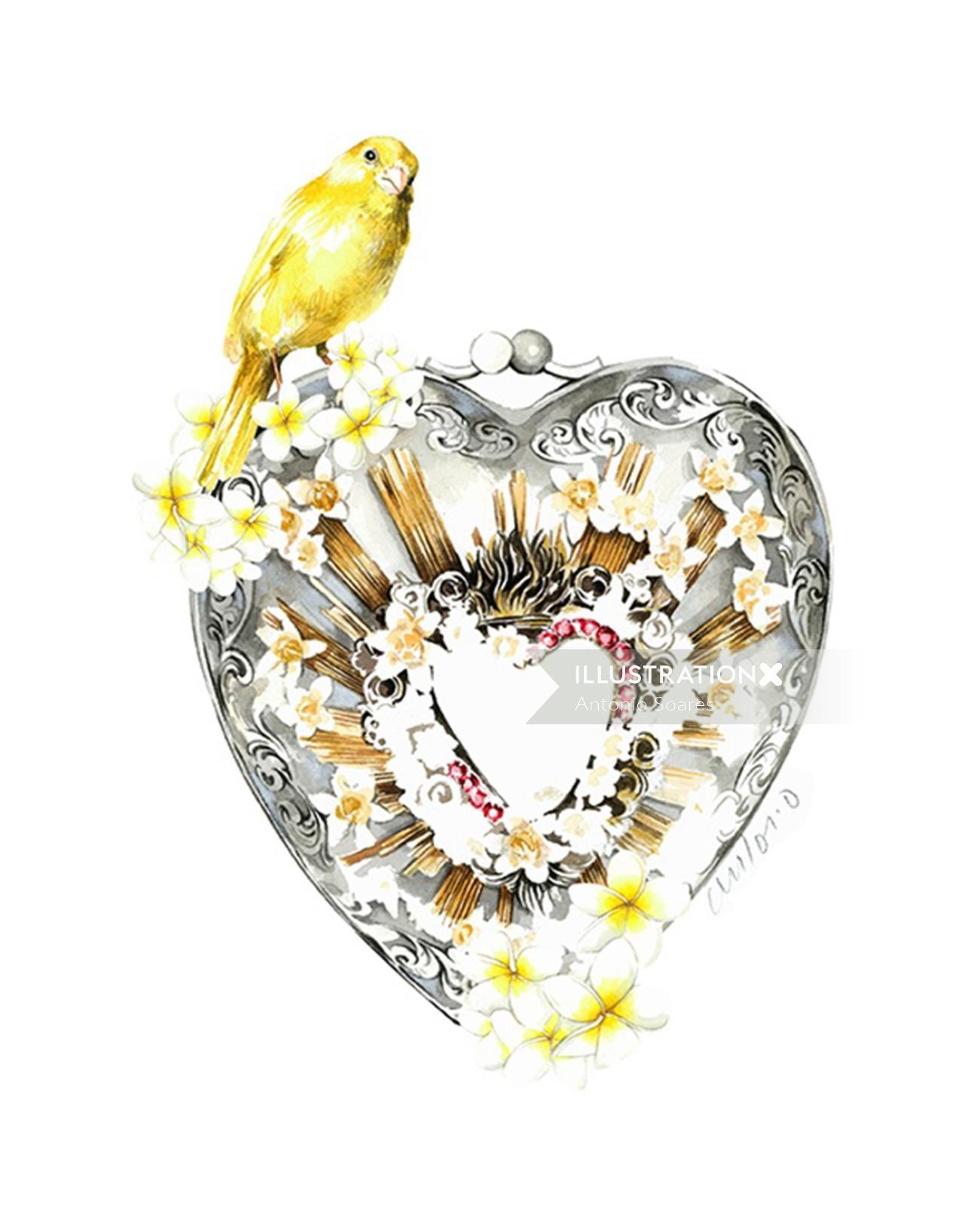 Heart Shaped Bag Fashion Sketch