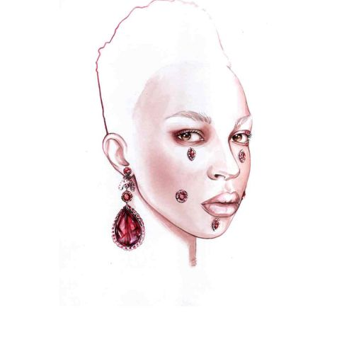 Watercolor painting of woman with diamond earrings